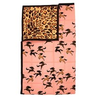 Leopard/horse bedspread pink