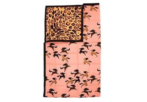 Mini Rodini Leopard/horse bedspread pink
