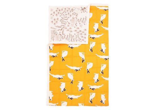 Mini Rodini Rabbit/croco map bedspread yellow