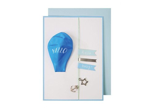 Meri Meri Blue Balloon Baby Card