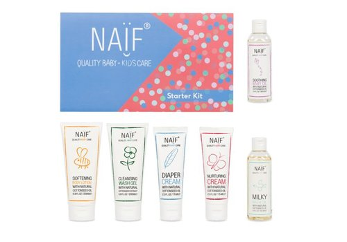 Naif Starterskit (bath oil 100ml, wash gel 200ml, diaper cream 75ml, nurturing cream 75ml, baby oil 100ml, body lotion 200ml)
