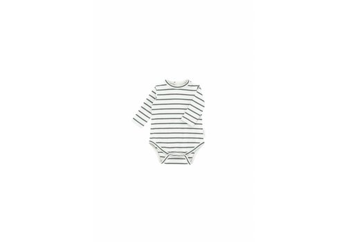 Tiny Cottons Small Stripes LS Body Light Grey/Dark Green
