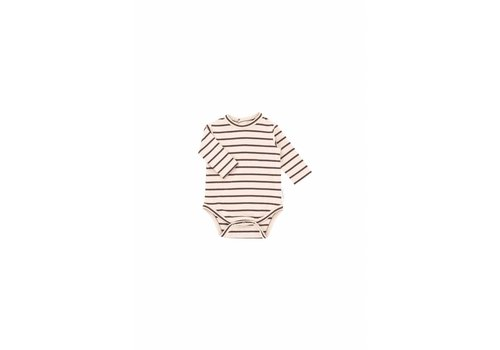 Tiny Cottons Small Stripes LS Body, Nude/Plum