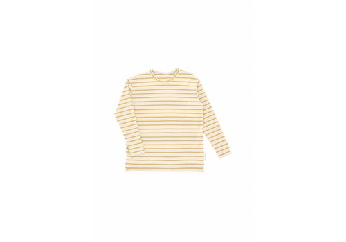 Tiny Cottons Small Stripes LS Relaxed Tee, Beige/ Mustard