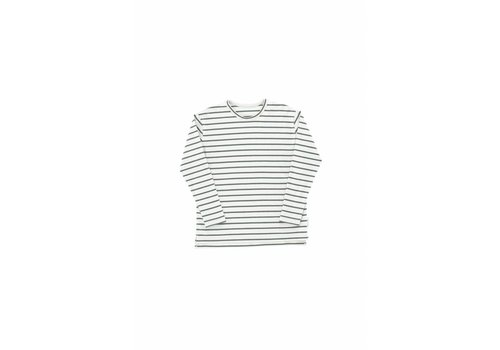 Tiny Cottons Small Stripes LS Relaxed Tee Light Grey/ Dark Green