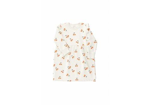 Tiny Cottons Cherries fleece dress beige/dark green/red