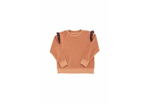 Tiny Cottons Frills towel sweatshirt terracotta/plum