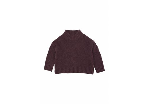 Tiny Cottons Fluffy mock sweater plum