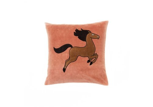 Mini Rodini Horse velvet cushion cover 50x50cm	/ pink