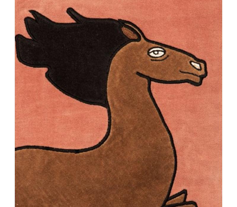 Horse velvet cushion cover 50x50cm/ pink