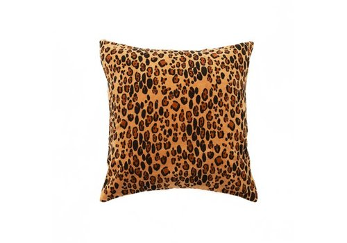 Mini Rodini Leopard velvet cushion cover 50x50cm	/ brown