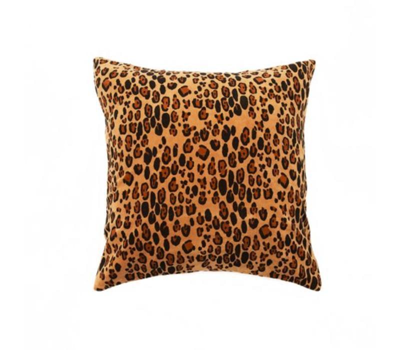 Leopard velvet cushion cover 50x50cm/ brown