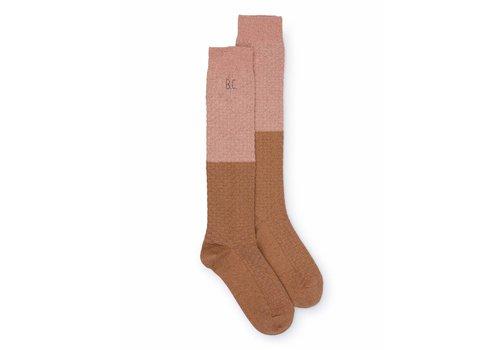 BOBO CHOSES Gold and Pink Long Socks