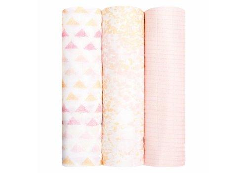 Aden + Anais Metallic Primrose Birch Pink Bamboo Swaddle 3 pack
