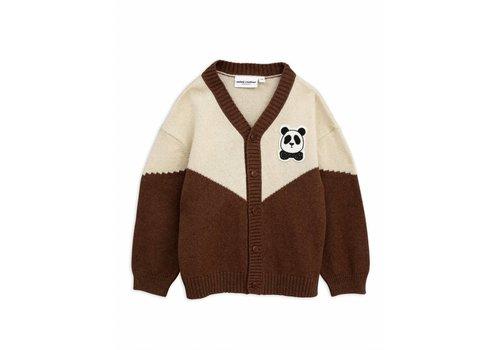 Mini Rodini Panda knitted wool cardigan brown