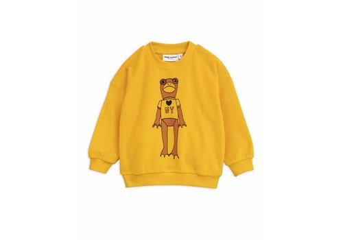 Mini Rodini Frog sp terry sweatshirt yellow