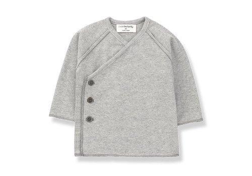 1 + More in the Family Koji Newborn Shirt, Light Grey/Ecru