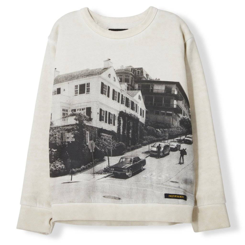94001c06d Finger in the nose Brian Off White Downhill - Boy Knitted Crew Neck  Sweatshirt
