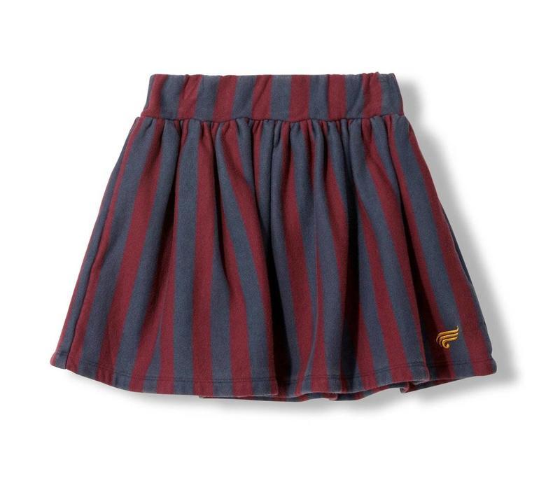 Annix Burgudy Stripes - Girl Knitted Mini Skirt