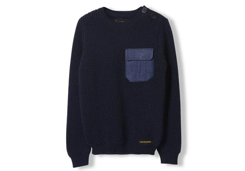 Finger in the nose Rudy Slate Blue - Boy Heavy Knitted Round Neck Jumper