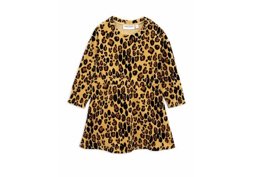 Mini Rodini Leopard velour dress beige