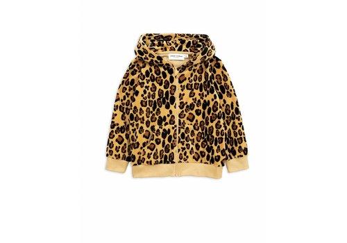 Mini Rodini Leopard velour zip hoodie beige