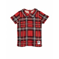 Check collar tee red