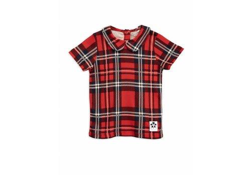 Mini Rodini Check collar tee red