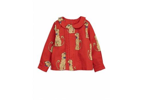 Mini Rodini Spaniels woven pleat blouse red