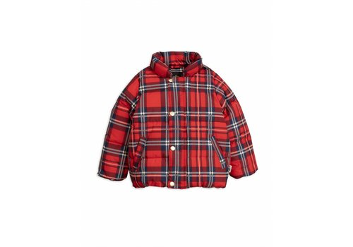 Mini Rodini Check puffer jacket red