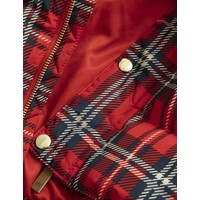 Check puffer jacket red
