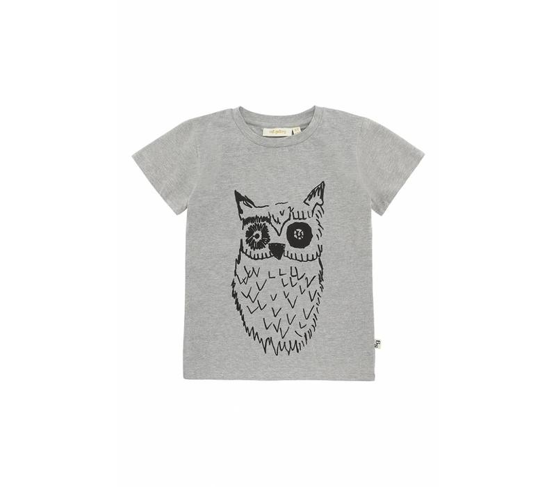 Bass T-Shirt Grey Melange, Big Owl Black