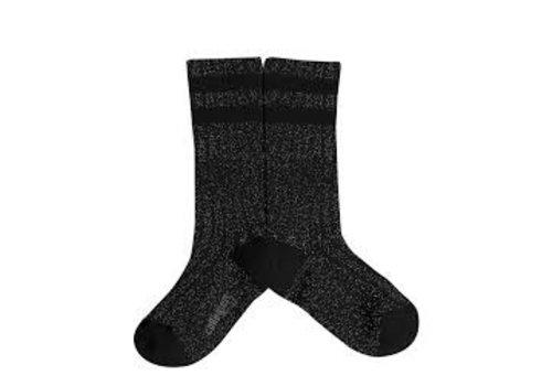 Collegien Knee sock lurex glitter - Noir Charbon