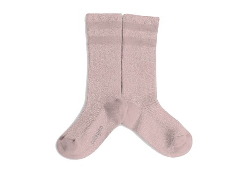 Collegien Knee sock lurex glitter - Rose Quartz