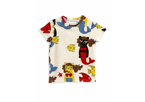 Mini Rodini Cat mermaid aop ss tee Offwhite