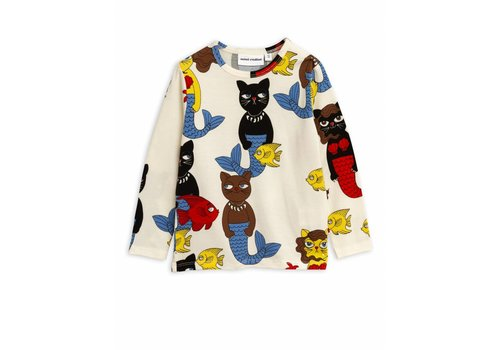 Mini Rodini Cat mermaid aop ls tee Offwhite
