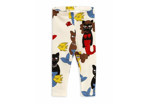 Mini Rodini Cat mermaid leggings Offwhite