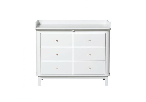 Oliver Furniture COMMODE WOOD NURSERY DRESSER 6 DRAWERS W. TOP LARGE, WHITE