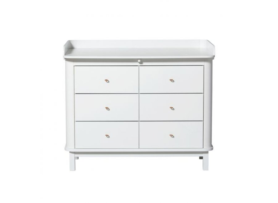 COMMODE WOOD NURSERY DRESSER 6 DRAWERS W. TOP LARGE, WHITE