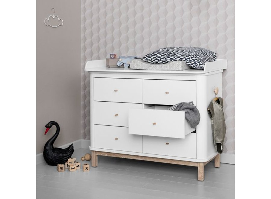 COMMODE WOOD NURSERY DRESSER 6 DRAWERS W. TOP LARGE, WHITE/OAK