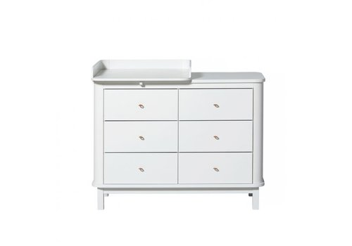 Oliver Furniture COMMODE WOOD NURSERY DRESSER 6 DRAWERS W. TOP SMALL, WHITE