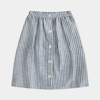 Button Down Skirt, Faded Sand Blue Stripe