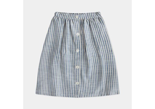 Repose AMS Button Down Skirt, Faded Sand Blue Stripe