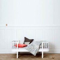 WOOD JUNIOR BED 90X160 WHITE INCL. CONVERSION TO 200CM.