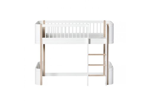 Oliver Furniture WOOD MINI+ LOW LOFT BED WHITE/OAK 68x162CM