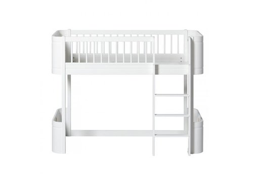 Oliver Furniture WOOD MINI+ LOW LOFT BED WHITE 68x162CM