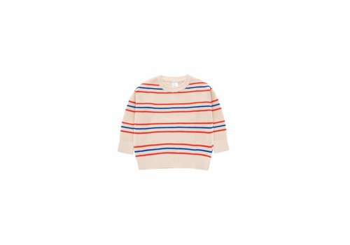 Tiny Cottons Stripes Sweater Cream/Red/Ultramarine
