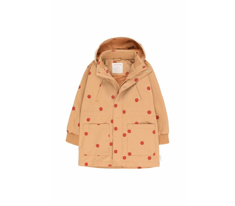 Happy Face Jacket Camel/Red