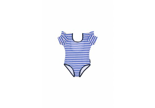 Tiny Cottons Stripes Frill Swimsuit Cream/Ultramarine