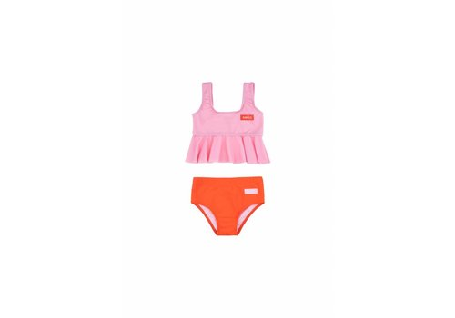 Tiny Cottons Smile Frill Swim SetPink/Red